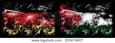 Germany, German Vs Palestine, Palestinian New Year Celebration Travel Sparkling Fireworks Flags Conc