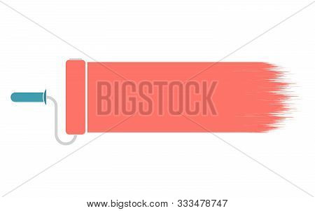 Pink Paint Roller Icon. Vector Illustration Of Wall Paint Roller Paint Brush