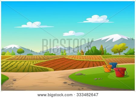 The Agricultural Landscape In The Daytime Is Very Beautiful.
