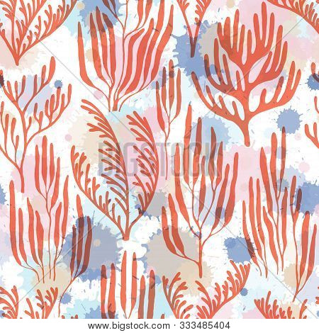 Coral Reef Seamless Pattern. Paint Splashes Drops Watercolor Background. Aquatic Plants Repeating Ve