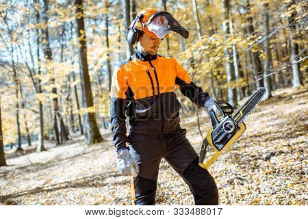 Portrait of a handsome professional lumberjack in protective workwear with a chainsaw in the forest poster