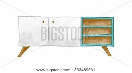 Wooden Furniture Vector Illustration. Colorful Bedside Table Isolated On White Background. Stylish N