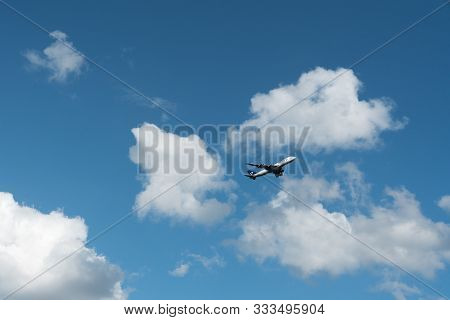 Luxembourg City / Luxembourg - 10. August, 2019: A Panalpina Freight Plane In The Sky After Take-off