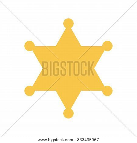 Yellow Sheriff Star On White Background. Vector Illustration. Sheriff Star In Flat Design