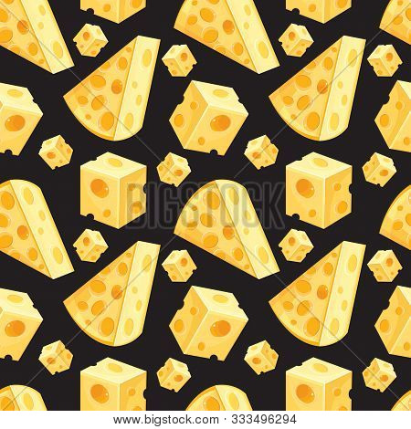 Seamless Pattern Of Square And Triangular Slices Of Yellow Cheese In Vector. Swiss Cheese Background
