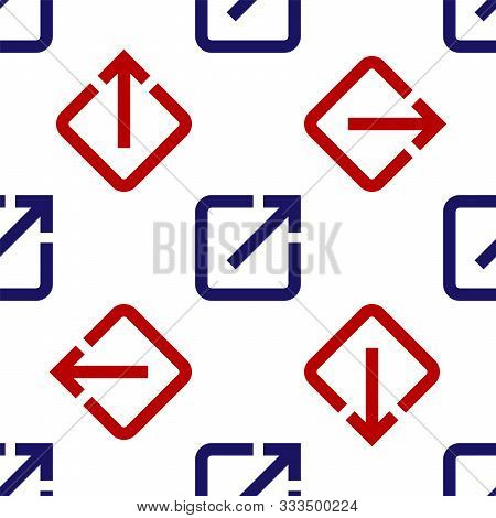 Blue And Red Open In New Window Icon Isolated Seamless Pattern On White Background. Open Another Tab