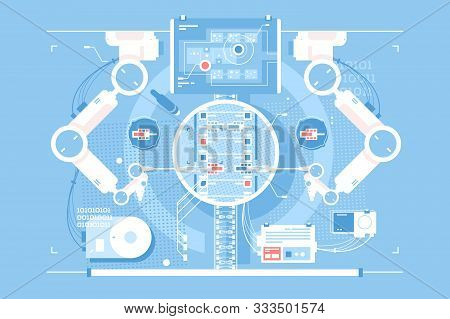 Exact Edits Room With Infographic Technologies Vector