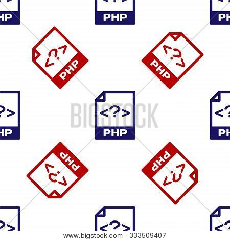 Blue And Red Php File Document. Download Php Button Icon Isolated Seamless Pattern On White Backgrou