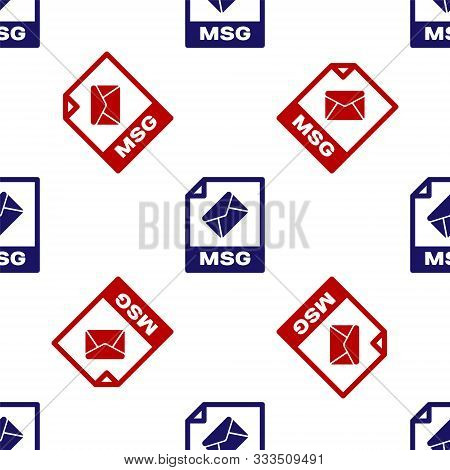 Blue And Red Msg File Document. Download Msg Button Icon Isolated Seamless Pattern On White Backgrou