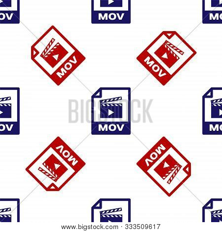 Blue And Red Mov File Document. Download Mov Button Icon Isolated Seamless Pattern On White Backgrou
