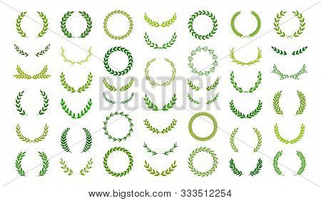 Set Of Green Silhouette Laurel Foliate, Oak, Olive  And Wheat Wreaths Depicting An Award, Achievemen