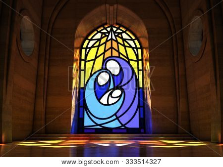 An Empty Grand Stone Church Interior Lit By The Moon Through A Stained Glass Window Depicting The Na