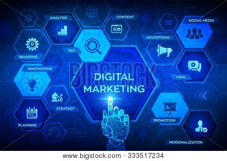 Digital Marketing Technology Concept On Virtual Screen. Internet. Online. Search Engine Optimisation