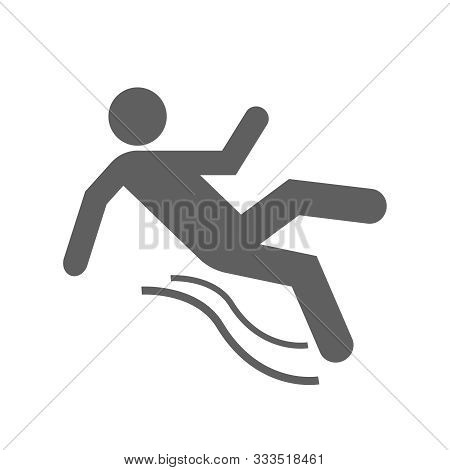 Slippery Floor Graphic Icon. Silhouette Of A Falling Man Isolated Sign On White Background. Wet Floo