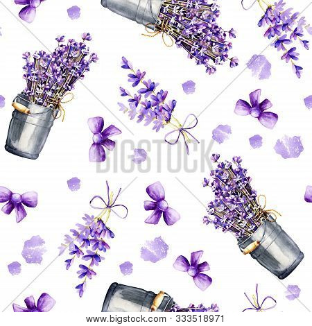 Seamless Pattern With Delicate Sprigs Of Lavender Flowers In A Bouquet And In A Bucket, With Ribbons
