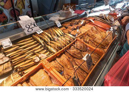 Riga, Latvia - October 28, 2019: Fresh Fish At Riga Central Market. Smoked And Salted Fish At The Fi