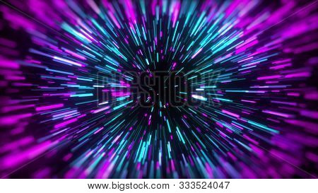3d Rendering Movement Through Stars. Hyper Jump Into Another Galaxy. Speed Of Light, Neon Glowing Ra