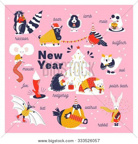 Set Icons Of Cute Animals. Funny Characters Hand Drawn Style For Happy New Year Card. Raccoon, Boar,
