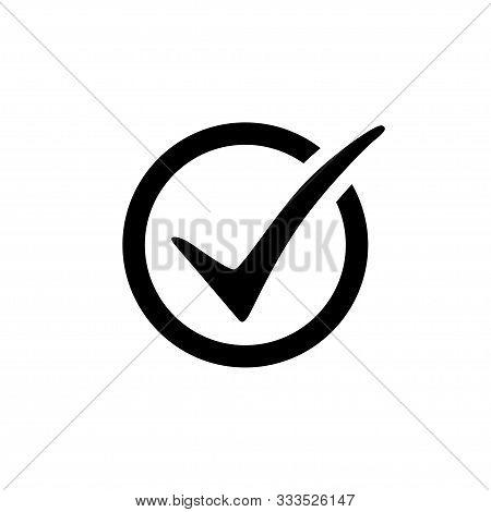 Check Mark Vector Icon In Circle Isolated On White Background. Check Mark Black Vector Icon. Check M