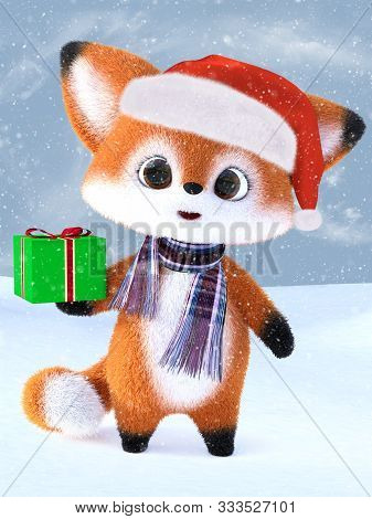 3d Rendering Of An Adorable Cute Happy Furry Cartoon Fox Wearing A Santa Hat And Scarf, Holding A Ch