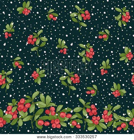 Cranberry And Snow. Seamless Pattern, Background. Graphic Drawing, Engraving Style. Vector Illustrat
