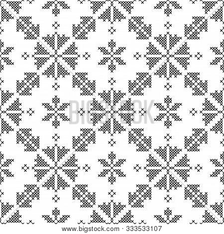 Cross-stitch, Embroidery. Black And White Seamless Decorative Pattern. Ornamented Background For Wal