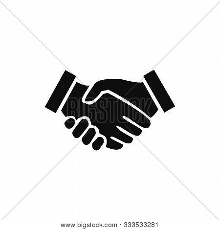 Handshake Vector Icon. Contract Agreement. Business Concept. Handshake Icon, Isolated On White Backg