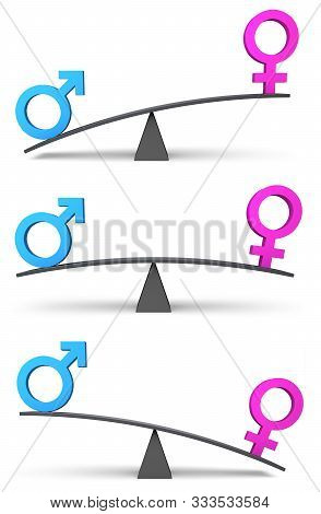 Set Of Three Simple Scales Weighing Blue Male And Pink Female Icons In Balanced And Unbalanced Poses