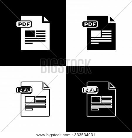 Set Pdf File Document. Download Pdf Button Icon Isolated On Black And White Background. Pdf File Sym
