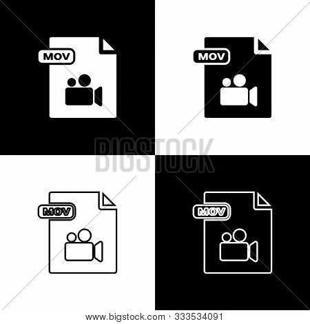 Set Mov File Document. Download Mov Button Icon Isolated On Black And White Background. Mov File Sym