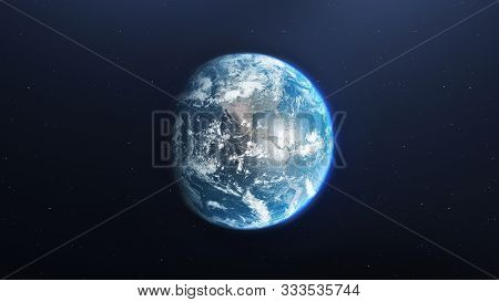 Earth planet viewed from space at night showing the lights of Europe and other countries, 3d render