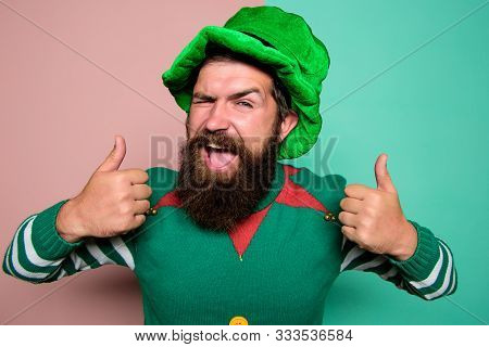 Christmas Elf. Elf Concept. Happy Celebration. Bearded Elf. Winter Carnival. Best Day Ever. St Patri