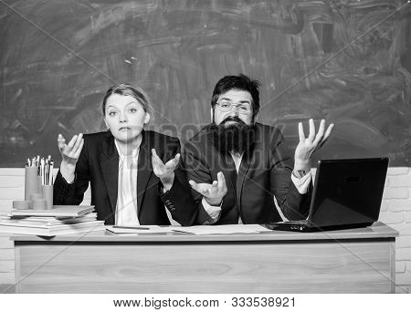 Interviewing Enrollee. Teacher Principal Decide Who Will Enter Private School. Private Elite School.
