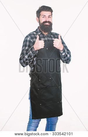 Showing His Approval. Hipster Gesturing Approval Sign. Grill Cook Or Barber Expressing His Approval