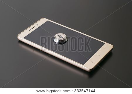 Telephone With Lock, Concept Of Protection Of Personal Information. Mobile Phone Security. Chained S