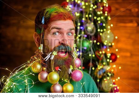 Christmas Beard Decorations. Santa Claus Wishes Merry Christmas. Christmas Celebration Holiday. Them
