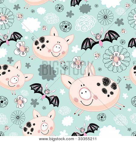 seamless graphic design with pigs and bats on a blue background with clouds poster