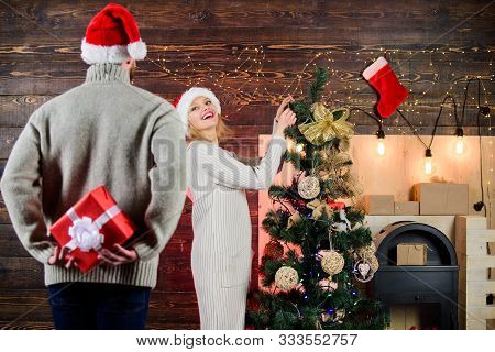 Surprising His Wife. Prepare Surprise For Darling. Winter Surprise. Man Carry Gift Box Behind Back.