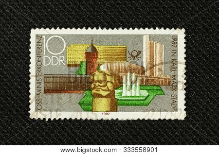 Germany - Circa 1982 : A Stamp Printed In Ddr Showing Karl Marx Stadt , Circa 1983