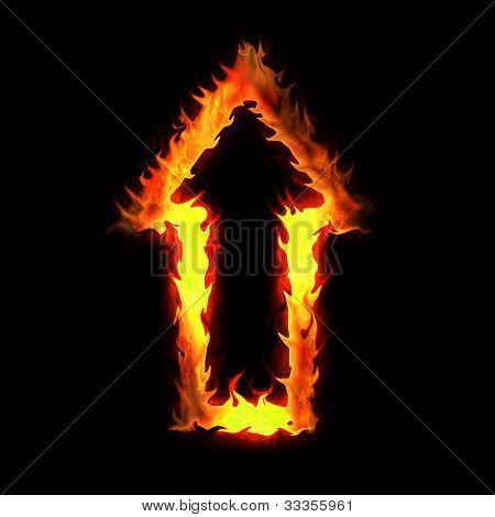 Burning Arrow Pointer On The Black Background