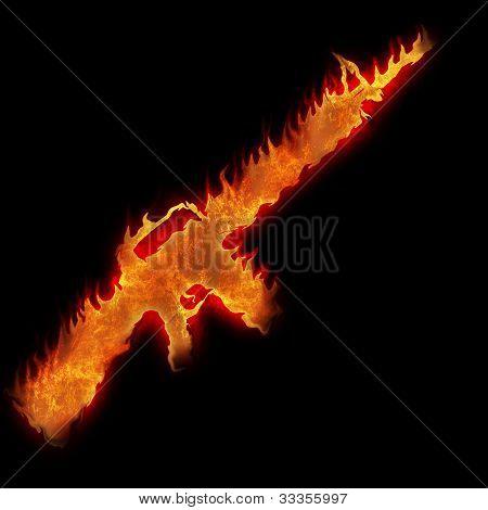 Burning M16 Rifle Fire On Black Background