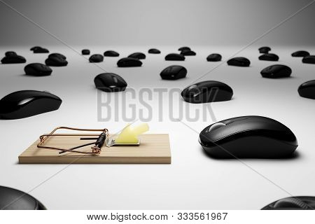 3d Rendered Computer Mice And Mousetrap Conceptual Clickbait Image With Clipping Path