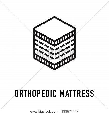 Orthopedic Mattress Icon, Line Logo. Vector Flat Sign For Ergonomic Healthy Sleeping