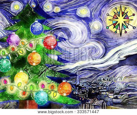 Artistic Digital Watercolour Painting Of Vincent Van Gogh