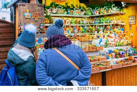 People On Christmas Market At Charlottenburg Palace Winter Berlin New