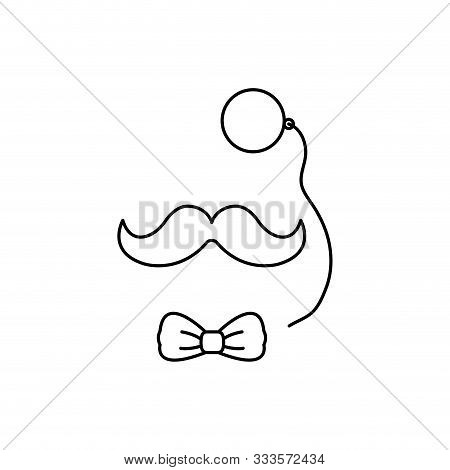 Monocular With Bowtie And Mustache Gentleman Accessories Vector Illustration Design