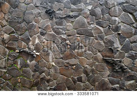 Stone Wall. Wall Of Wild Stone. Stone Background. Stone Texture For Creativity.