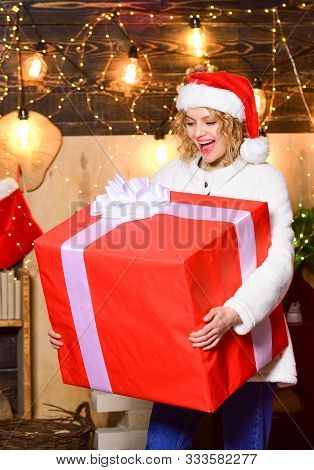Really Big. Giant Surprise. She Deserves All Best. Girl Santa Hat Hold Enormous Gift Box. If You Hav