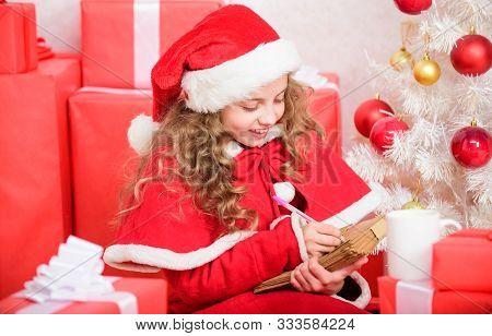 Believe In Miracle. Send Letter For Santa. Wish List. Child Santa Costume Enjoy Christmas Eve. Girl