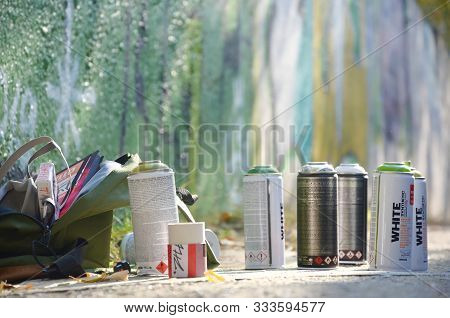 Kharkov, Ukraine - October 19, 2019: Used Spray Cans For Graffiti Painting By Many Paint Brands Outd